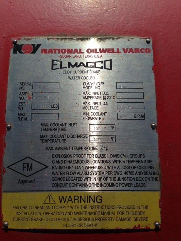 7040 baylor elmagco eddy current nov brake  u2013 used  u2013 rig